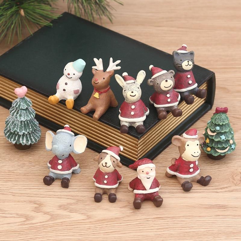 Christmas Small Animal Mixed Set Desktop Decoration Creative Cartoon Anime Santa Snowman Baby Elephant Resin Home Figurines