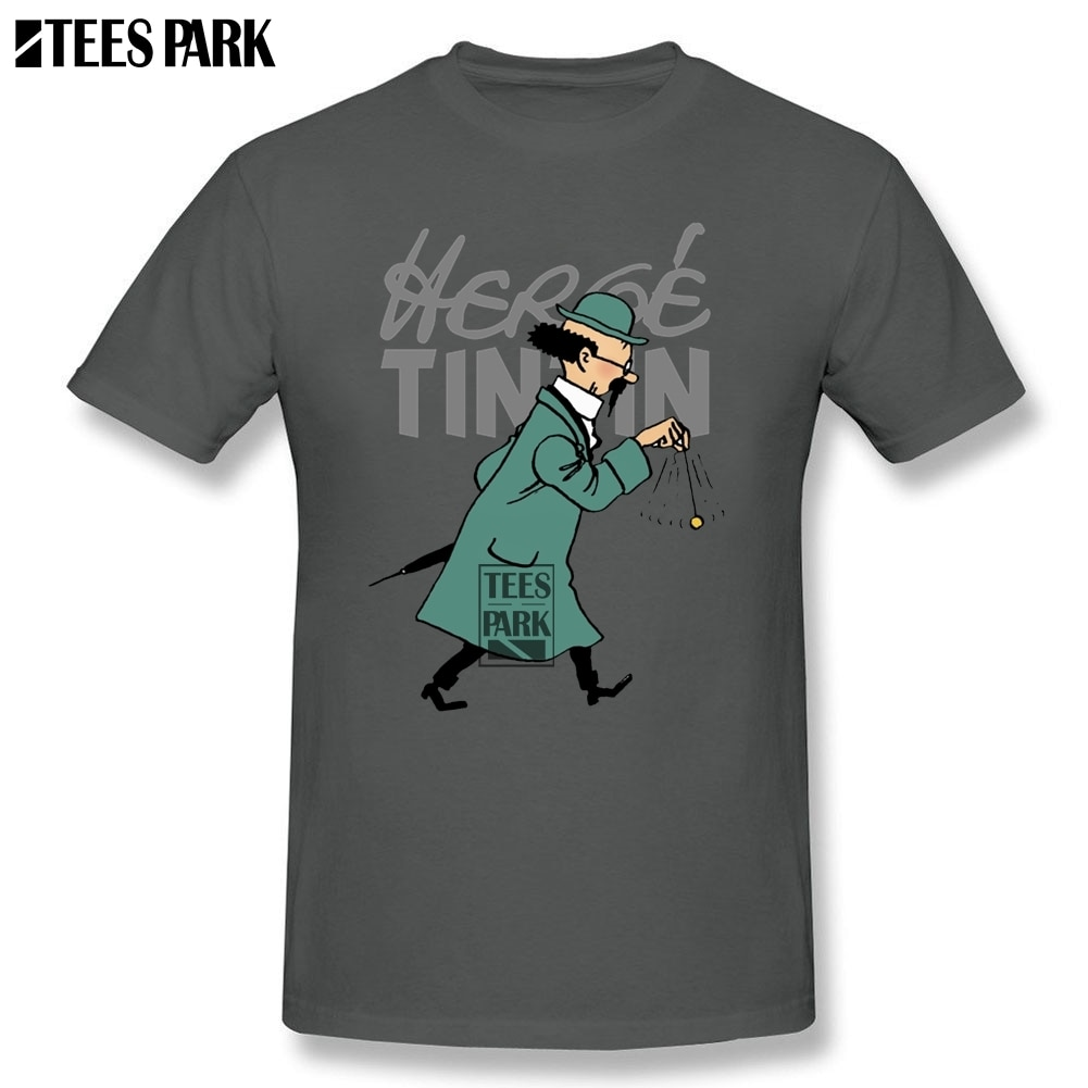 Camiseta para hombre, camisetas divertidas Herge Tintin, camiseta de estudiantes prealgodón a bajo precio, camiseta de talla grande a la moda 2020, ropa de calle