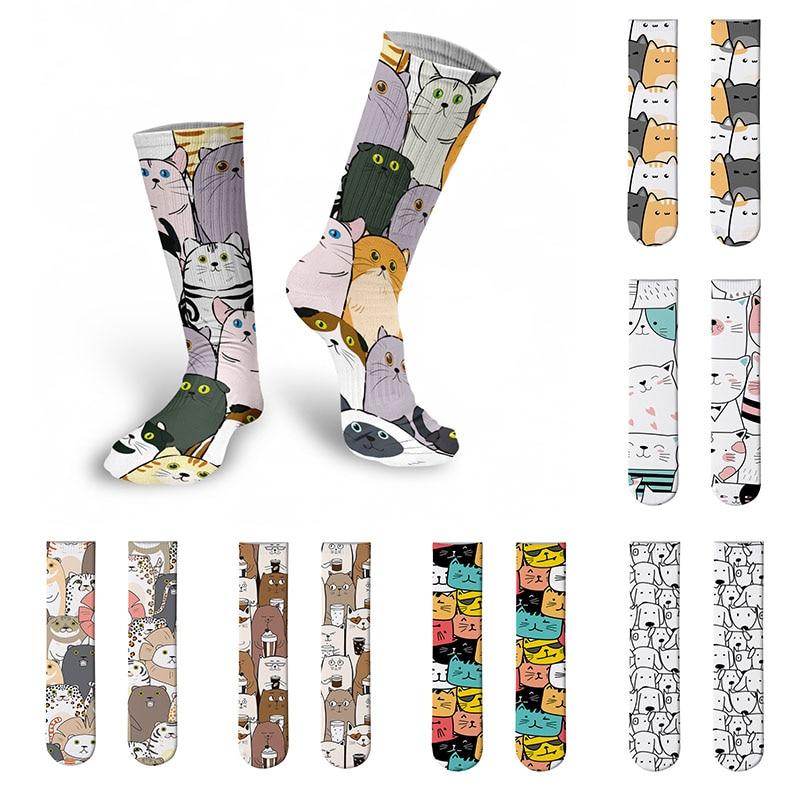 Новинка, стильные длинные носки с животными, забавные мини-Носки с рисунком, женские зимние носки, повседневные спортивные носки для велосп...