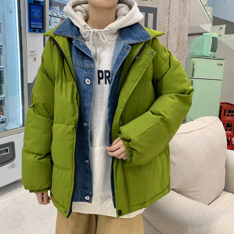 Зимняя куртка большого размера, Мужская теплая Модная поддельная короткая куртка из двух частей, Мужская Корейская Повседневная Свободная ...