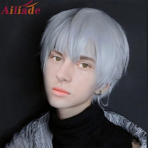 """Ailiade White Silver Wig 12"""" Short Straight Bangs Male Cosplay Costume Anime Wigs Synthetic Wig For Men Women Boy Heat Resistant"""
