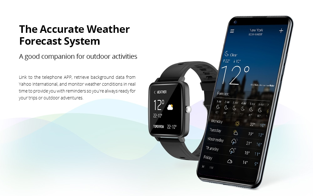 DOOGEE CS1 Smart Watch Sport Smart Watch IP68 Waterproof Real-time Heart Rate Monitor 12 Sporting Modes
