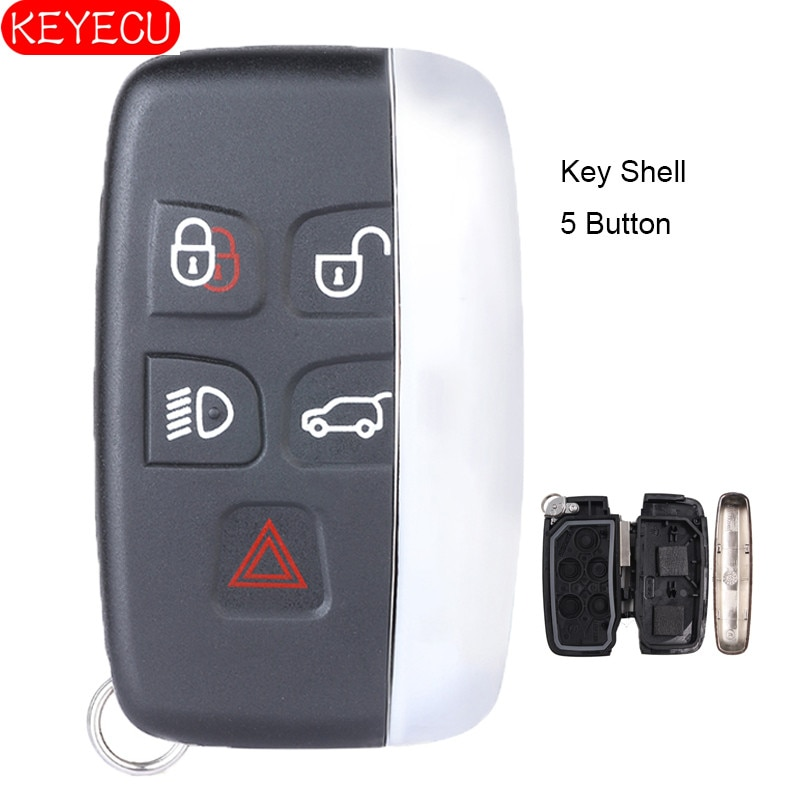 KEYECU 5 Button Smart Remote Car Key Shell Case Fob for Land Rover Range Rover Sport LR4 Evoque 2010 2011 2012 2013