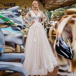 Lorie elegante rendas apliques praia champanhe vestidos de casamento com manga longa macio tule vestidos de noiva casamento plus size 2020