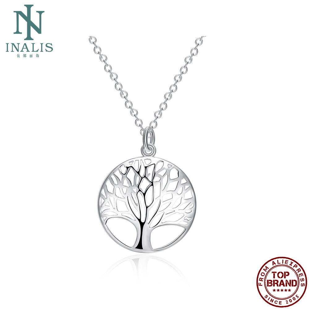 INALIS, collar de árbol hueco de moda, collar plateado de mujer, joyería de Boutique para enviar a amigos regalos de aniversario romántico