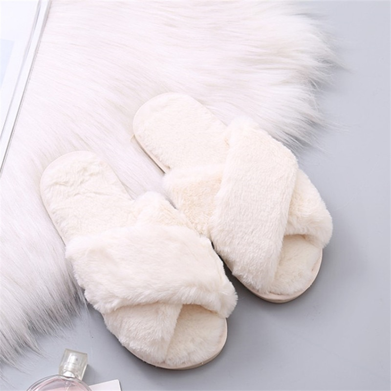 suihyung women indoor shoes winter warm flock home slippers ladies bedroom slip on casual shoes flats faux fur house floor shoes Women Home Slippers Winter Warm Shoes Woman Slip on Flats Slides Female Faux Fur Slippers 36-41 wholesale Slippers