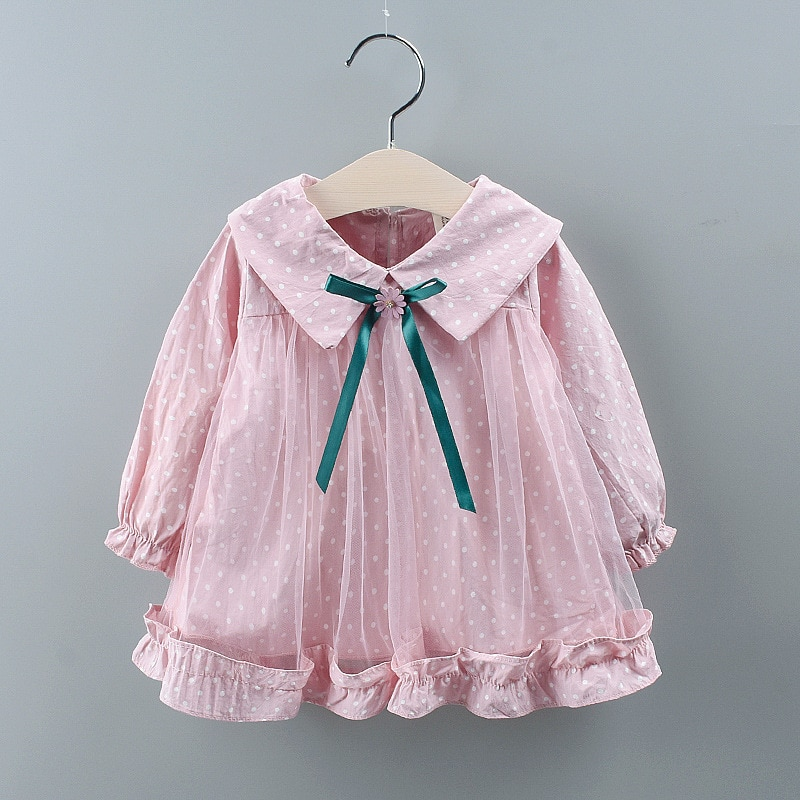 2019 New Kids Girl Dress Toddler Baby Long Sleeve Dresses Autumn Dot Bow Clothing Girls Cotton Princess Dress Kid Tops Outfits