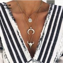 Tocona Böhmen Vintage Sivler Farbe Anhänger Halskette Charme Mond Tier Augen Geometrische Chocker Kette Frauen Schmuck C18107