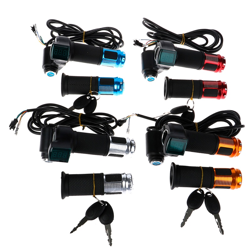 2 шт./компл. дроссельная заслонка для электрического велосипеда с ЖК-дисплеем, газовая ручка, дроссельная заслонка для 12-99 в, запчасти для мот...
