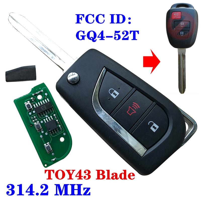 Flip chave remota com h 72g chip para toyota rav4 highlander 2013 2014 2015 fcc id GQ4-52T toy43 lâmina