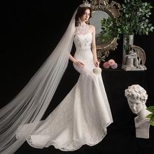 Mermaid Wedding Dress Elegant Halter Court Train Lace Up Bride Dress Princess Luxury Lace Wedding Dresses Vestido De Noiva
