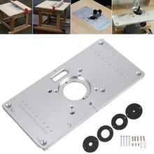 Promotion! Routeur Table plaque 700C aluminium routeur Table Insert plaque + 4 anneaux vis pour bois bancs, 235mm x 120mm