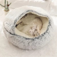 winter long plush pet cat bed round cat cushion cat house 2 in 1 warm cat basket cat sleep bag cat nest kennel for small dog cat