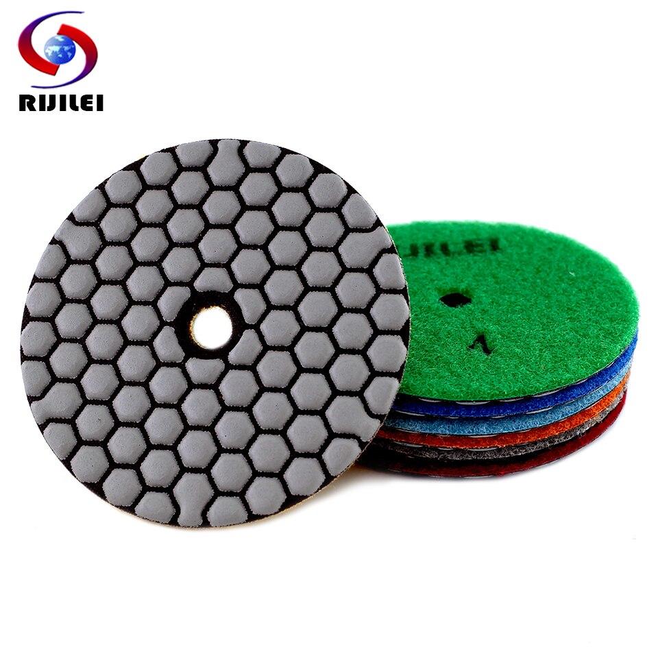 RIJILEI 6PCS 4 Inch Dry Polishing Pad Flexible Resin 100mm Diamond Polishing Pads For Marble Concrete Floor Grinding Disc недорого