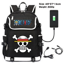 Anime One Piece Luffy Zoro Cartoon Backpack USB Charging Laptop School Shoulder Bag for Girls Boys Teenager