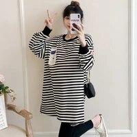 3018 autumn korean fashion striped cotton maternity hoodies large size loose shirt sweatshirt for pregnant women pregnancy tops