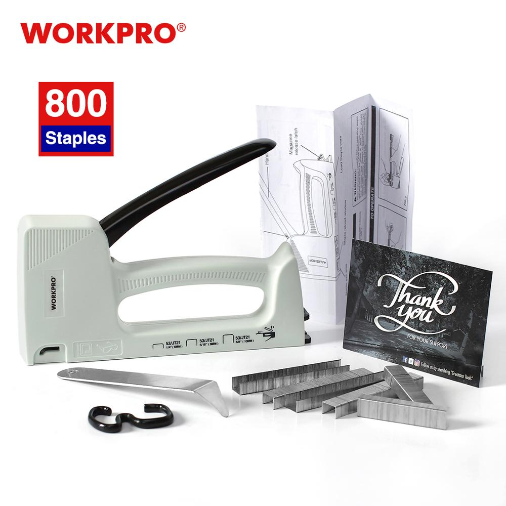 Ручной степлер WORKPRO, сверхмощный пластиковый степлер для мебели, пистолет для ногтей с 800 скобами 6 мм/8 мм/10 мм и съемником степлера