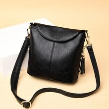 Vintage noir femme épaule seau sacs doux en cuir véritable sacs à bandoulière femmes sac à main mode gland dames sac de messager