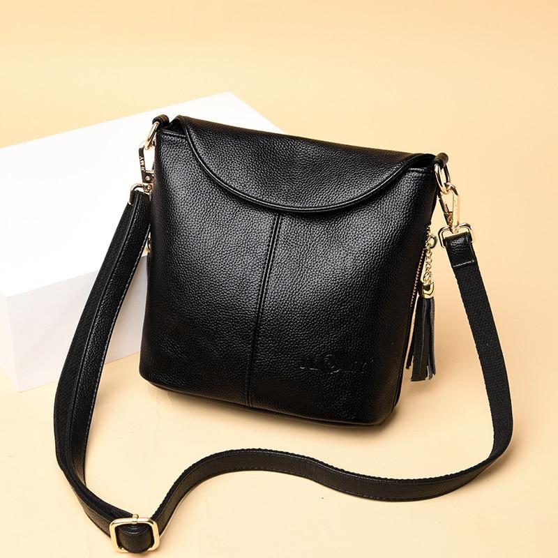 Vintage preto feminino ombro balde sacos de couro genuíno macio crossbody sacos bolsa feminina moda borla senhoras saco do mensageiro