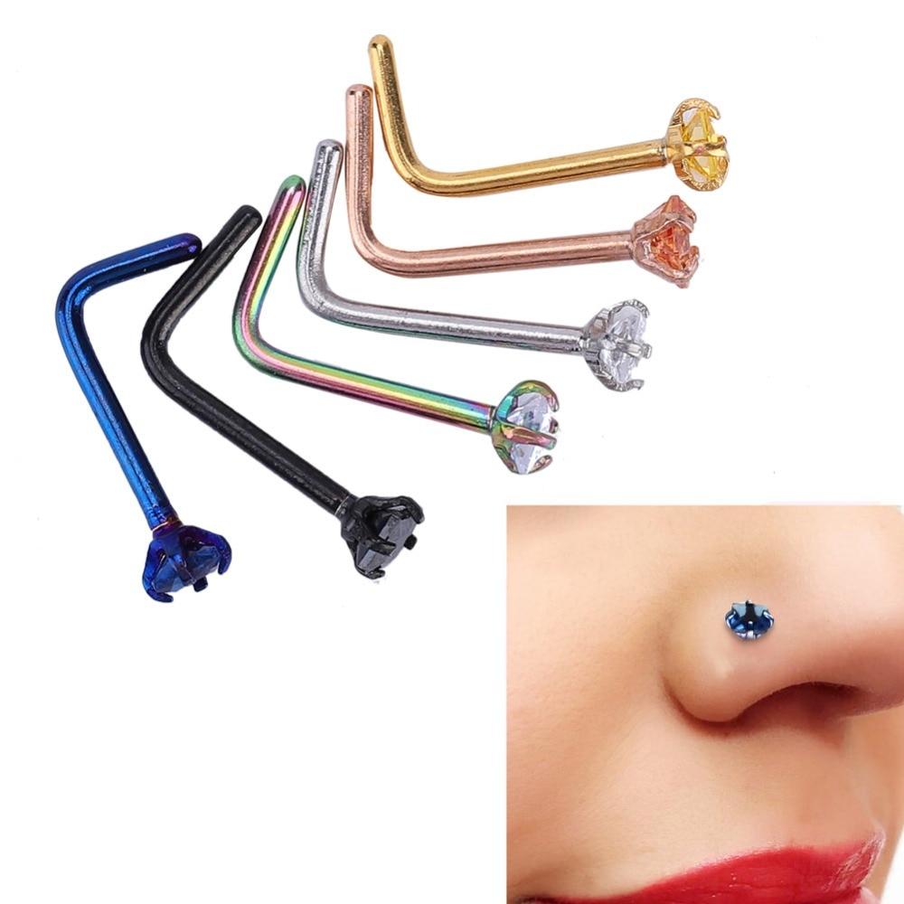6 шт Нержавеющаясталь L-shape форме, благодаря чему создается ощущение невесомости с кольцо для носа серьги-гвоздики Бижутерия для пирсинга, н...