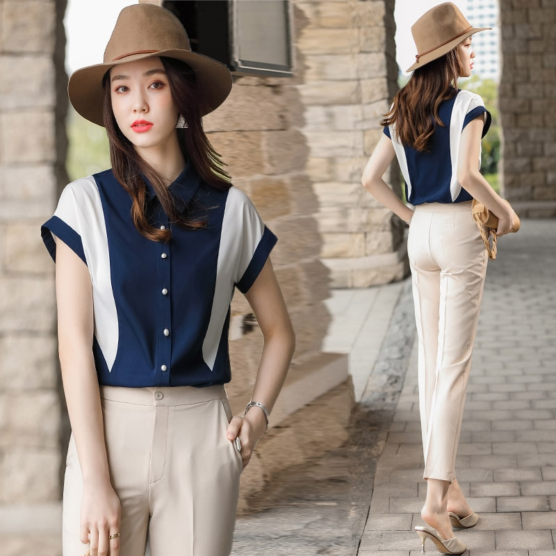 High-End Business Shirt Suit Female 2021new Summer Casual Stylish Slimming Youthful-Looking Two-Piec