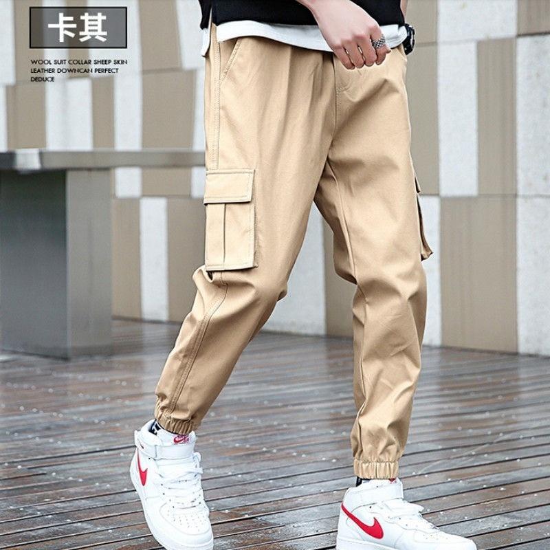 Штаны-карго HOUZHOU мужские, джоггеры, брюки-карго, повседневные штаны цвета хаки, с карманами, в Корейском стиле
