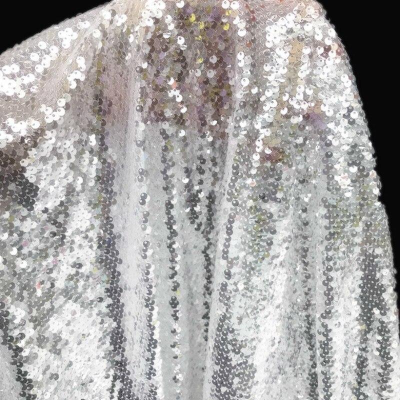 5mm cristal tecido de renda de lantejoulas para costura vestido branco peixe escala pano tecido diy roupas materiais 1 metros