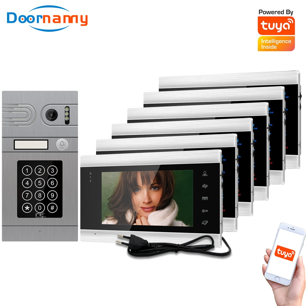 Doornanny 1 To 6 Doorbell Home Intercom Wireless WiFi Intercom Video Phone Doorman SmartLife Tuya 960P AHD Password Card Access