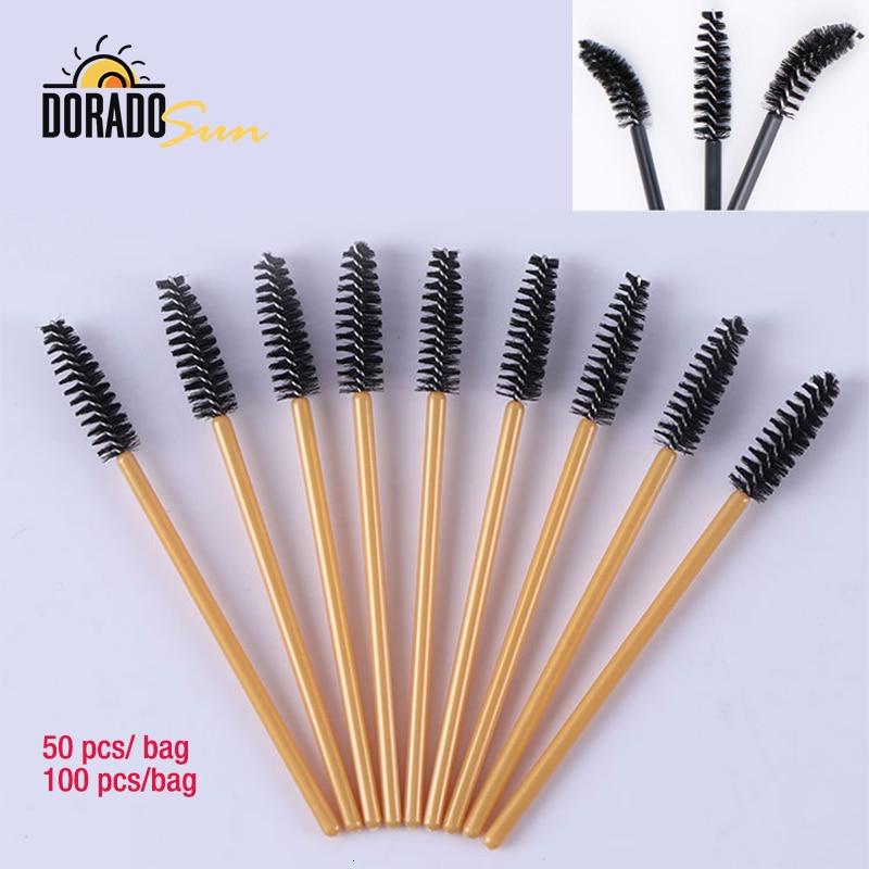 DORADOSUN 100 Uds. Cepillo de pestañas desechable con forma de tornillo herramienta Pincel de maquillaje para cejas portátil