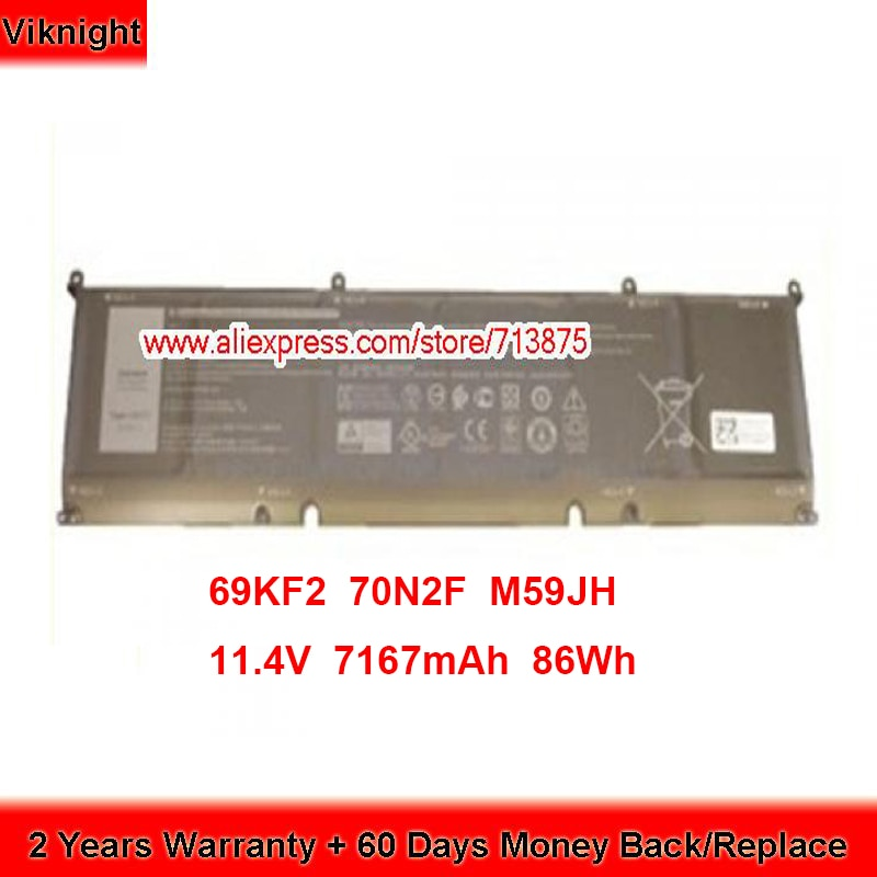 Brand New 69KF2 Battery for Dell 70N2F M59JH Laptop 11.4V 7167mAh 86Wh