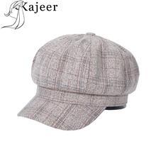 Kajeer Korean Retro Octagonal Cap Newsboy Beret Hat Warm Autumn Winter Hat For Men Male Women Handsome Plaid Cotton Hat Beret