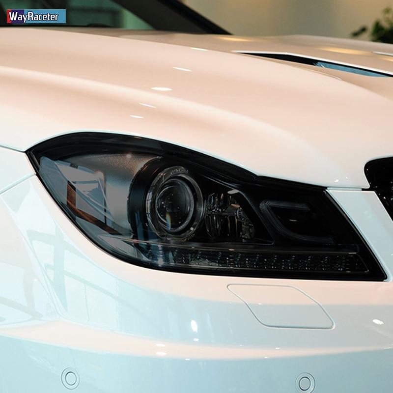 Film de protection Transparent pour phare de voiture, 2 pièces, noir, autocollant, pour Mercedes Benz classe C W204 C63 AMG 2011-2014