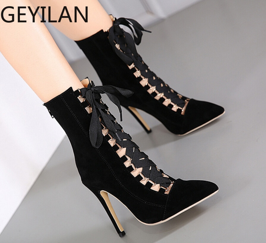 New Women Boots Autumn Fashion Pointed Toe Stiletto Thin Heel Lace Up Shoes Black Pink Apricot Botas