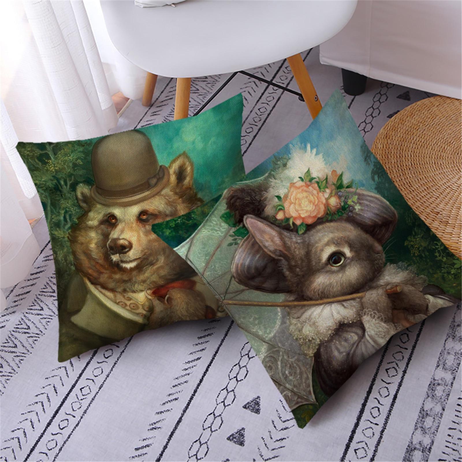 Fuwatacchi белье с лисьим и кроличьим фото наволочка на подушку «Жираф» Подушка с животным принтом Чехлы для украшения дома, дивана, декоративны...