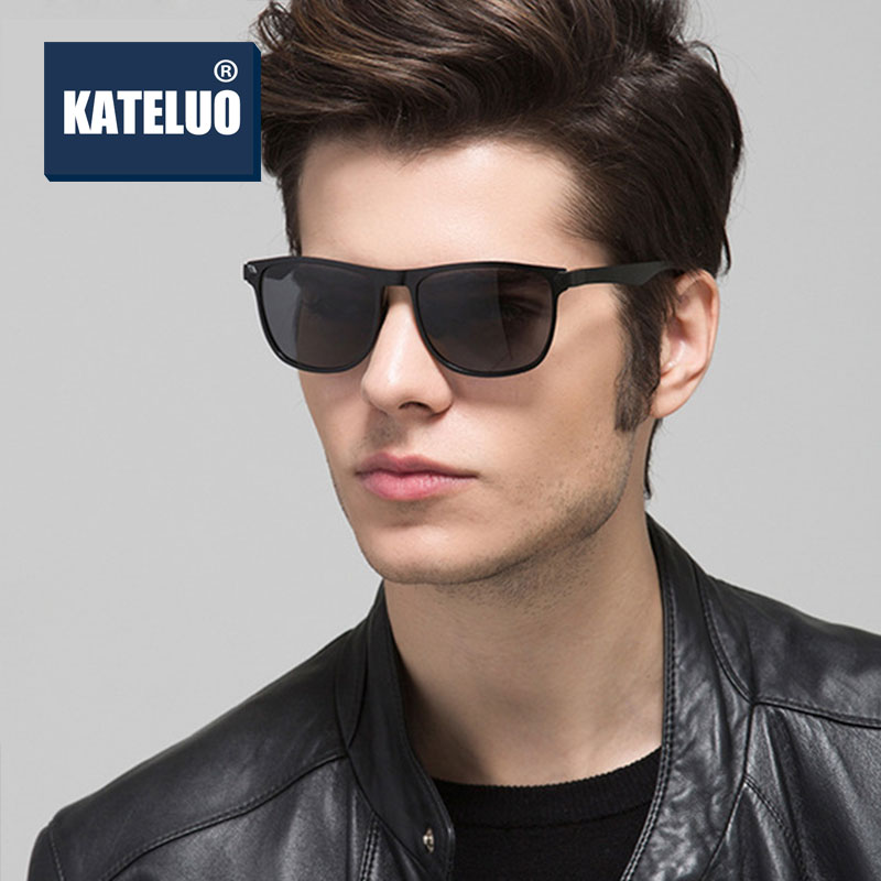 KATELUO Brand Men Polarized Sunglasses Military Quality Sun Glasses Driving Glasses Square Shade For
