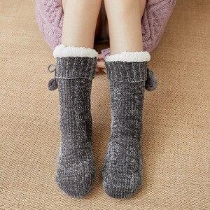 Cute Floor Snow Girl Socks Sleeping Carpet Autumn Winter Household Warm Thick Velvet Bottom Non-Slip Slippers Solid Women's Sock