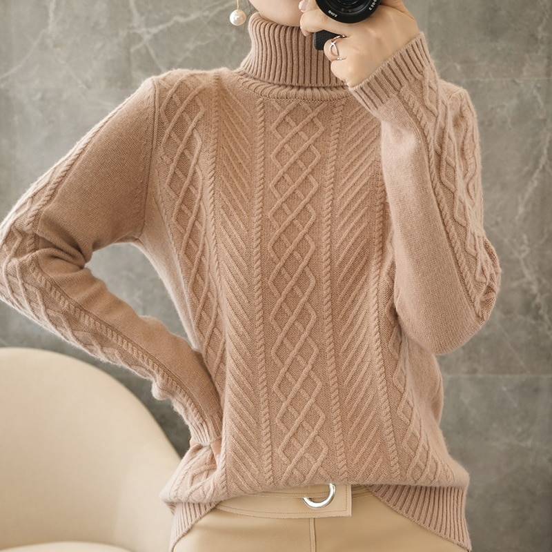 adohon 2021 woman winter 100% Cashmere sweaters autumn knitted Pullovers High Quality Warm Female thickening Turtleneck enlarge