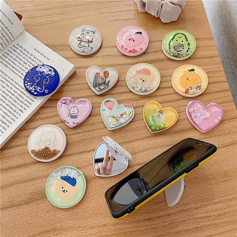 Soporte de anillo de teléfono móvil telescópico universal bonito de arena movediza de dibujos animados soporte de soporte plegable para iPhone 11 Samsung Huawei Xiaomi