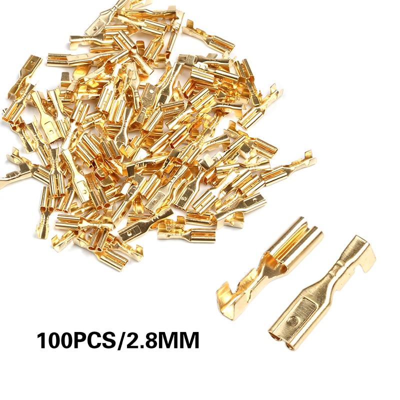Набор штекерных обжимных разъемов для автомобиля из золотой латуни, электрические разъемы для проводов 2,8/4,8/6,3 мм, 100 шт.