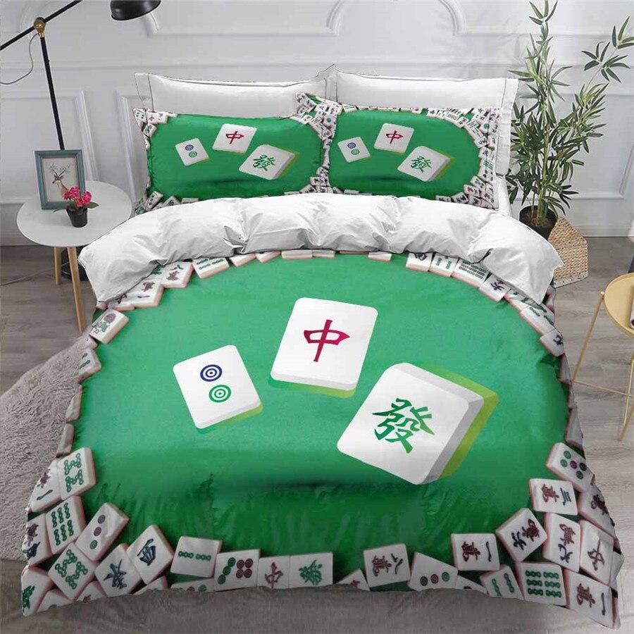 HELENGILI 3D Bedding Set Mahjong Print Duvet Cover Set Bedcloth with Pillowcase Bed Set Home Textiles #MJ05