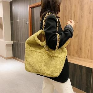 Ladies Purses Handbags Set 2020 Winter Newest Korean Thick Chain Fur Tote Bag Designer Woven Women Shoulder Bag Yellow Hand Bag