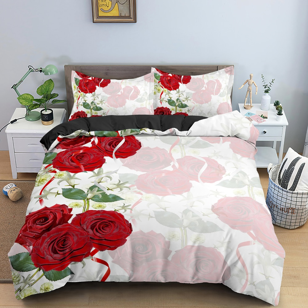جميل الزهور نمط طقم سرير فاخر دافئ حاف مجموعة غطاء ثلاثية الأبعاد المطبوعة لحاف/المعزي يغطي مع المخدة الملك الملكة