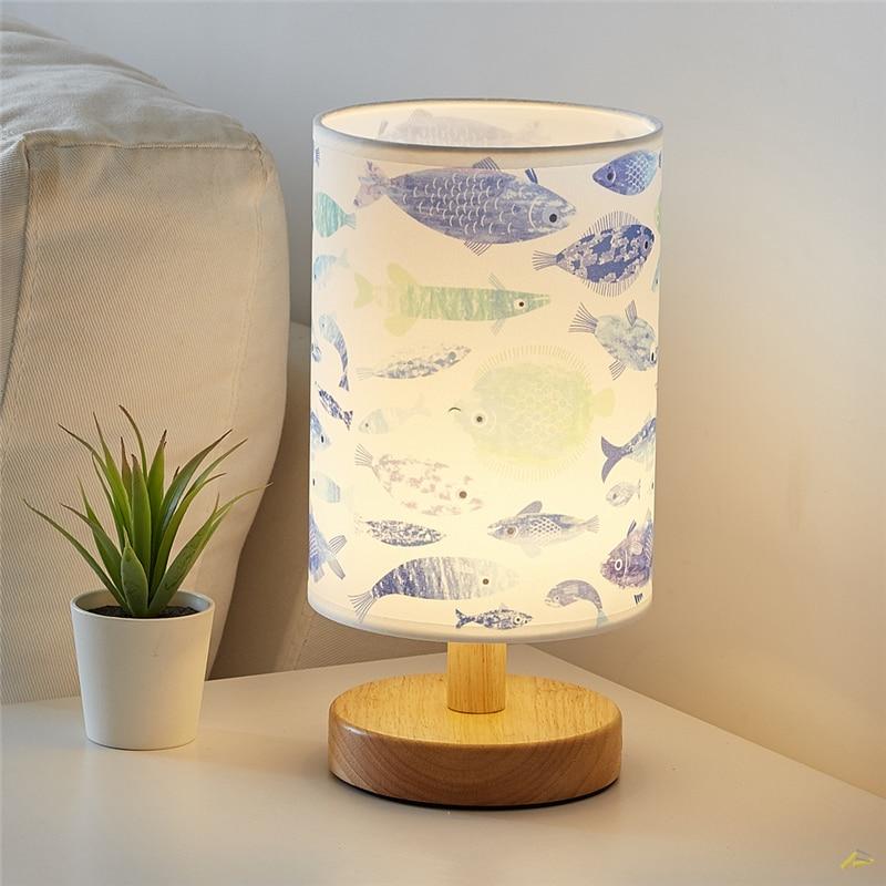 Tela de madera nórdica LED dormitorio con luces de mesa decoración de noche tela pantalla lámparas de mesa sala de estar decoración del hogar luminarias