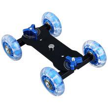 Table Top Dolly Mini Auto Skater Track Slider Super Stumm für DSLR Kamera Camcorder (Blau & Schwarz)