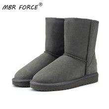 MBR FORCE haute qualité en cuir de vachette véritable australie classique 100% laine bottes de neige femmes bottes chaudes chaussures dhiver pour les femmes