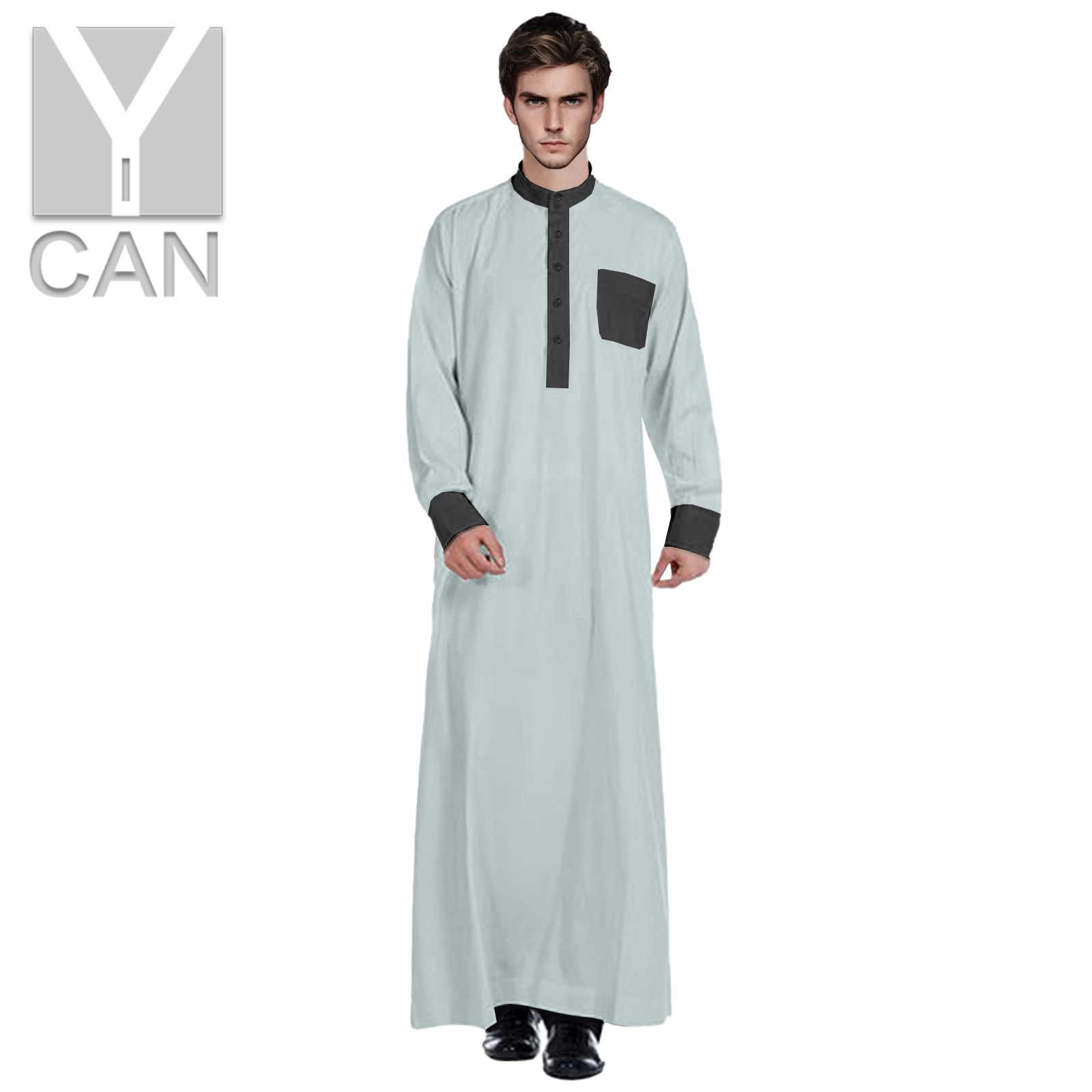 Y-CAN Muslim Fashion for Men Jubba Thobe With Stand Up Collar Contrast Islamic Clothing Pakistan Free Muslim Modal Robe Y211003