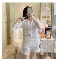2021 summer new south korea ice silk matte silk shorts pajamas womens 2pcs suit comfortable home clothes sleepwear nightwear