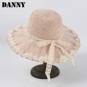 Summer Fresh Lace Bow Loli Straw Hat Cute Idyllic Holiday Sun Hat Raffia Seaside Sun Hat Chapeau Femme Dropshipping