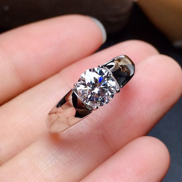 100% 925 Sterling Silver Created Moissanite Gemstone Wedding Engagement white Gold Ring Anniversary men Jewelry Wholesale