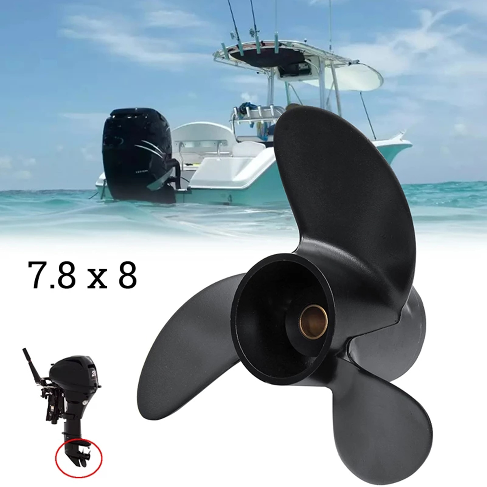 Marine Outboard Propeller Boat For 7.8x8 Balck Aluminum Alloy Screw 3 Blade Boat Engine Parts Replacement Accessories Wondeful sea and fresh water cooled and heat exchanger for weifang 495 k4100 marine engine boat engine parts